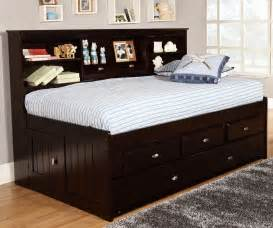 Twin Beds With Bookcase Headboard Espresso Twin Size Bookcase Captain S Day Bed With Trundle