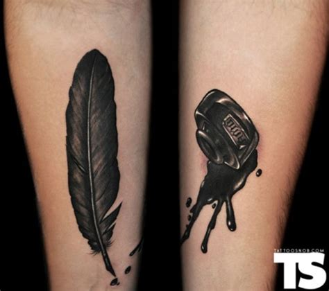 spilled ink tattoo quill and ink pot arm ideas ink