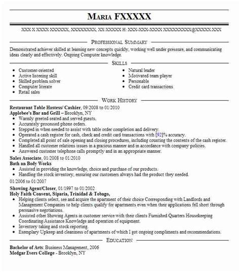 Resume For Cashier In Restaurant Best Restaurant Cashier Resume Exle Livecareer