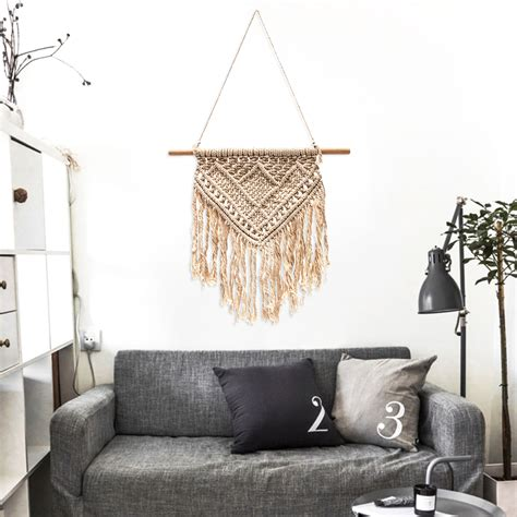 handmade macrame wall hanging tapestry bohemian chic home