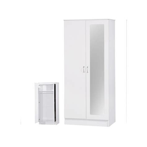 White Gloss Mirrored Wardrobes by Alpha White Gloss Two Tone 2 Door Mirrored Wardrobe Ark
