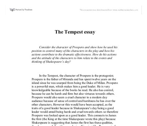 The Tempest Essay by The Tempest Essays The Tempest Prospero S Rebirth Gcse Marked By Essay On Best