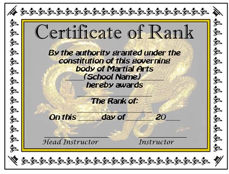 taekwondo certificate templates martial arts karate taekwondo rank certificates proudly