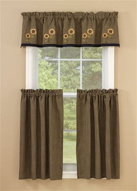 """Sunflower Check Lined Curtain Valance 60"""" x 14"""""""
