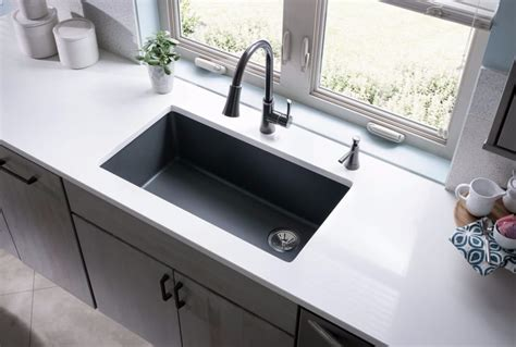 quartz countertop with undermount sink elkay elgu13322gy0 33 inch undermount sink with e granite