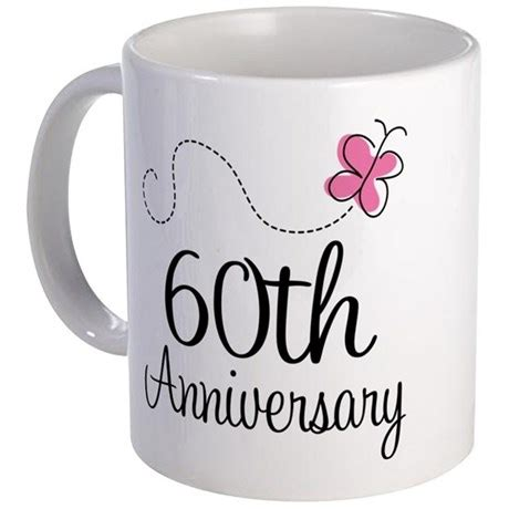 60th anniversary gifts 60th anniversary gift butterfly mug by anniversarytshirts