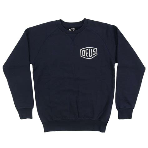 Hoodie Deus Ex Machina Navy deus ex machina venice ca address crew sweatshirt navy mens clothing from attic clothing uk