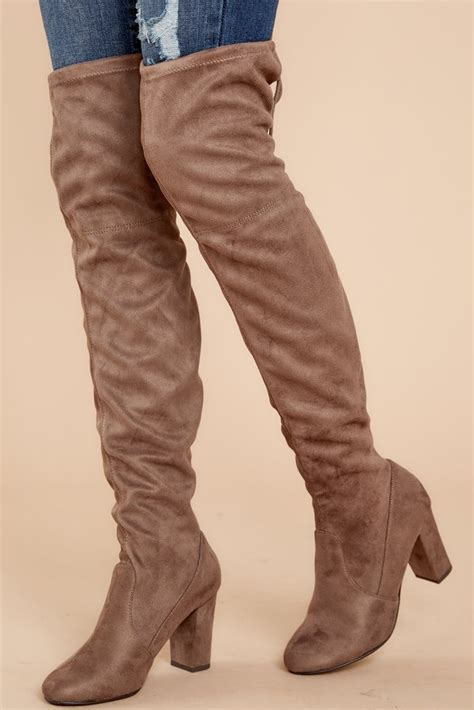 sassy taupe boots knee high boots high heel boots