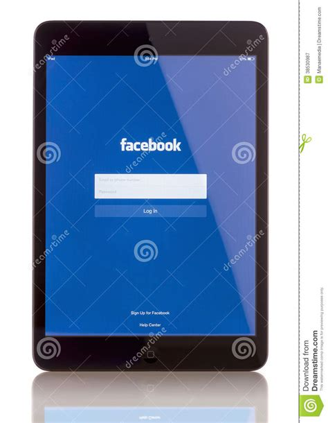 chip facebook facebook on ipad mini editorial photography image 38530987