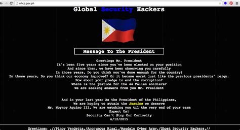 Hackers Deface Government Website Leaves Message For Aquino Geekblogs Demo Template Hackers Website Template
