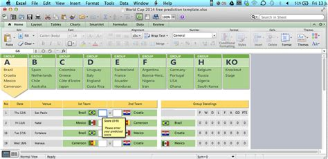 World Cup 2014 Excel Prediction Templates Spreadsheet1 Custom Excel Templates