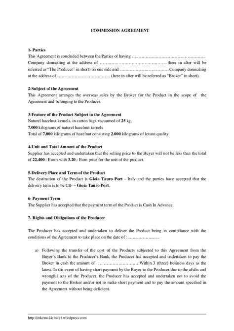 commission fee agreement template commission agreement