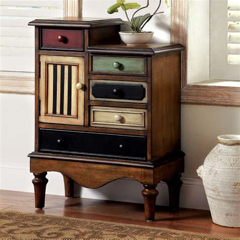 Multi Colored Cabinets by Furniture Of America Cerse Vintage Style Multi Colored