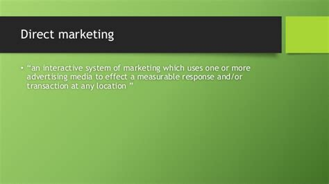 marketing through direct marketing through
