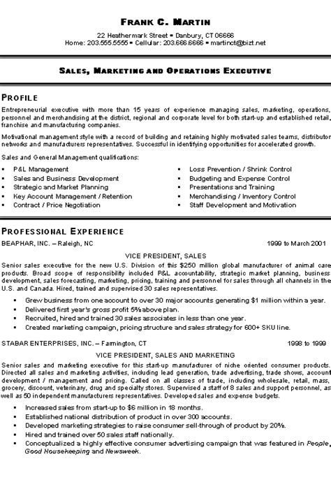 Sles Of Executive Resumes by Marketing Sales Executive Resume Exle