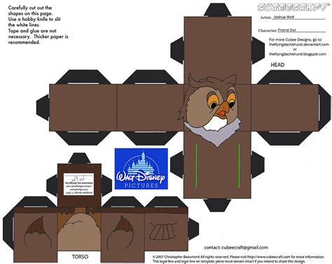 3d Papercraft Printables - dis48 friend owl cubee by theflyingdachshund on deviantart