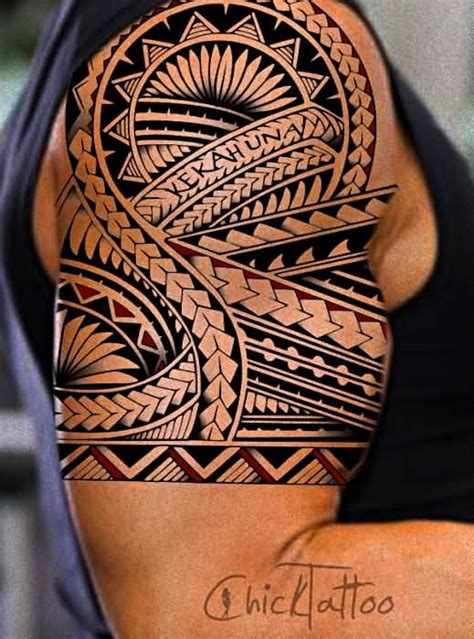 tattoo ornaments gallery massive colored polynesian ornaments half sleeve tattoo