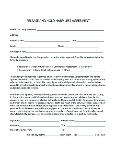 hold harmless agreement hold harmless agreement template for different purposes