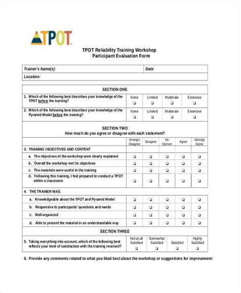 17 Workshop Evaluation Form Templates Participant Evaluation Form Templates