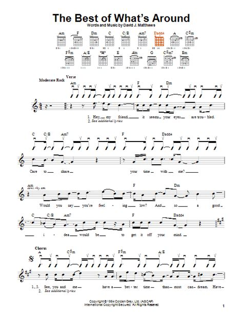 strumming pattern for up around the bend the best of what s around sheet music by dave matthews