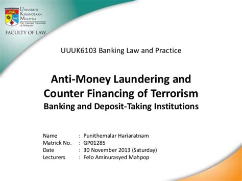 Mba Concentration Anti Money Laundering by Anti Money Laundering And Counter Financing Of Terrorism