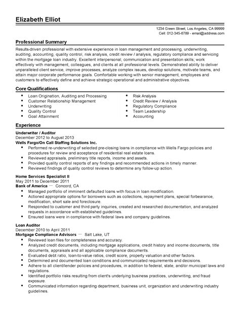 Letter To Mortgage Underwriter Template mortgage resume underwriter