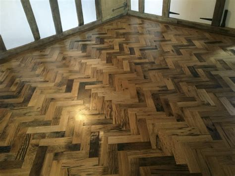 Reclaimed Wood Tile Flooring by Reclaimed Herringbone Parquet Flooring Project