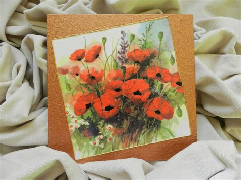 Decoupage Method - decoupage technique painting poppy flowers handmade