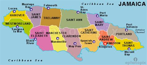 jamaica map with cities jamaica map with parishes and capital