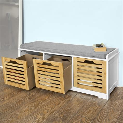 Storage Bench With Drawers Sobuy Storage Bench With 3 Drawers Shoe Cabinet With Seat Cushion Fsr23 Wn Uk Ebay