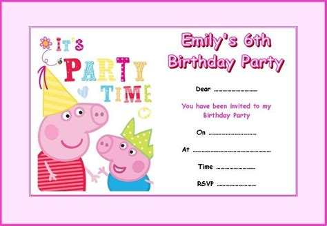 peppa pig invitation card template personalised peppa pig 2 invitations x 10 ebay