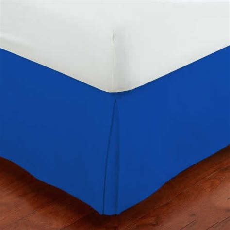 bed skirt 17 inches drop solid royal blue cotton