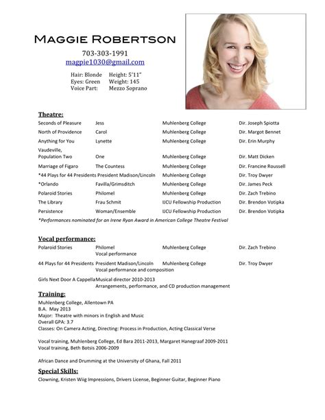 resume acting template beginner acting resume sle