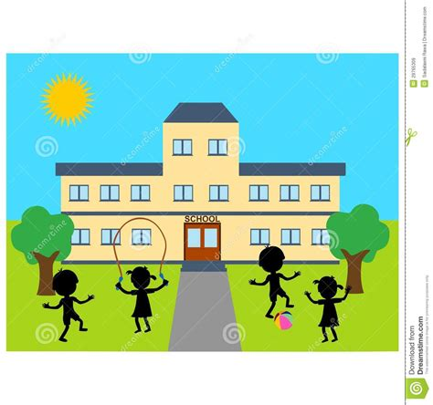 S Drawing Elementary School by School Building Outline Clip 35