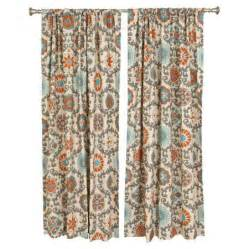 Aqua And Orange Curtains Aqua Orange Medallion Curtains For The Home
