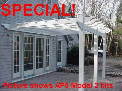 vinyl pergola kits attached parts prices plans