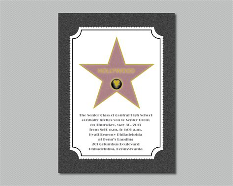 free printable hollywood star printable hollywood star walk of fame prom invitation