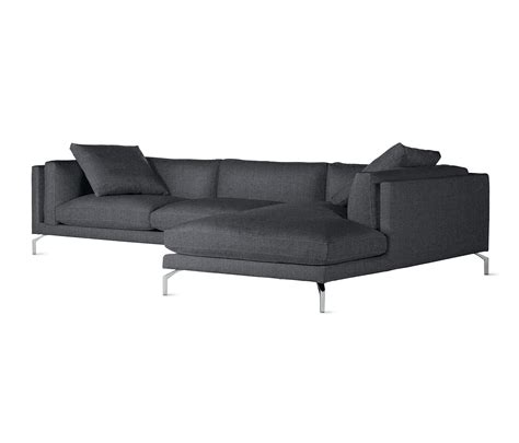 design within reach sectional como sectional chaise in fabric right modular sofa