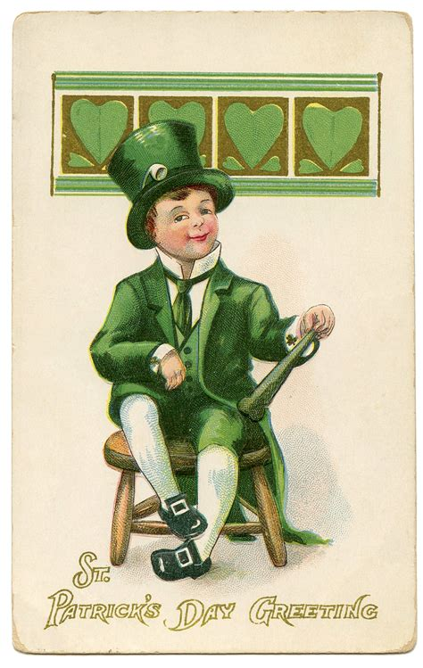day postcard leprechaun image the graphics