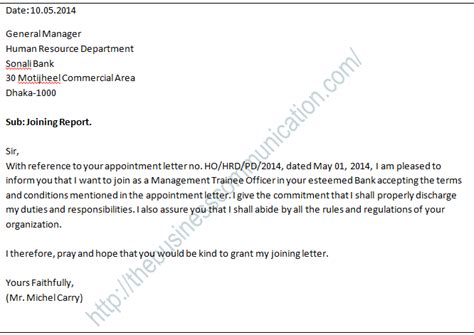 Official Joining Letter After Transfer What Is Joining Letter Specimen Of Joining Letter