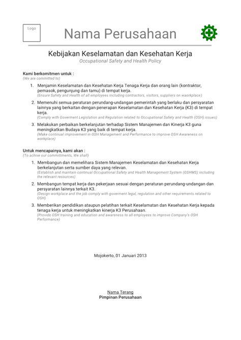contoh kebijakan k3 keselamatan dan kesehatan kerja ohs policy