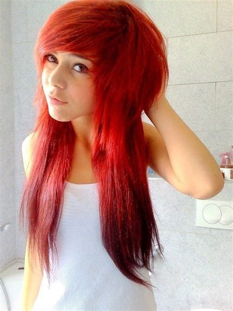 emo hairstyles for redheads red dyed scene hair pretty red hair pinterest