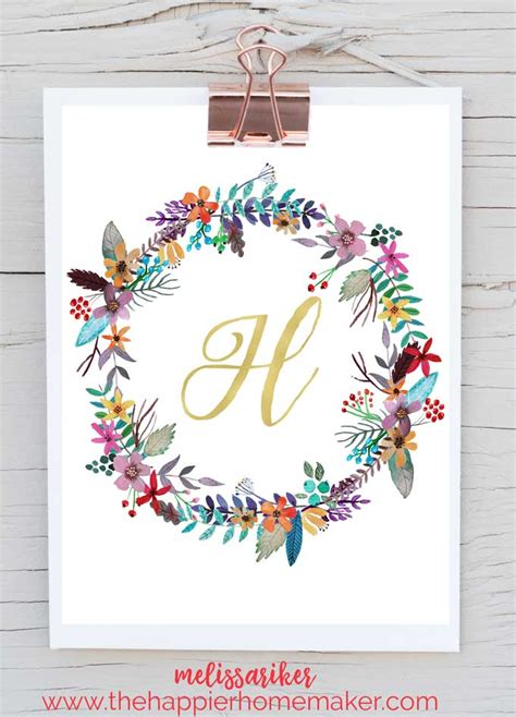 free printable wall art letters free printable monogram art the happier homemaker