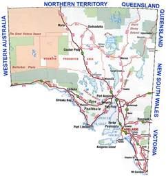 south road map south australia region map map of australia region political