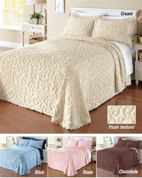 elegant quilts and coverlets collectionsetc elegant scroll chenille bedspread ebay