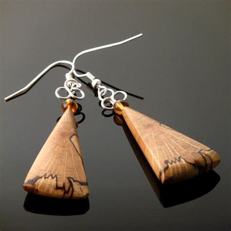 how to make wooden jewelry handcrafted wooden jewelry spalted oak earrings by