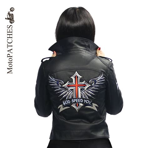 Hoodie Of God Wrath Niron Cloth motopatches embroidered iron on patches large god speed you cross wing badge biker patches
