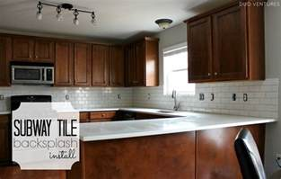 Installing Subway Tile Backsplash In Kitchen by Duo Ventures Kitchen Makeover Subway Tile Backsplash