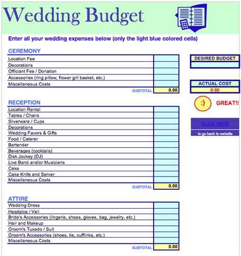 Wedding Budget Template Excel wedding budget template free iwork templates