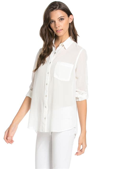 S Chiffon Button Blouse by Roll Up Sleeve Button White Chiffon Blouse My Yuccie